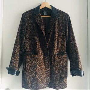 Etcetera Leopard Print Leather Lined Blazer